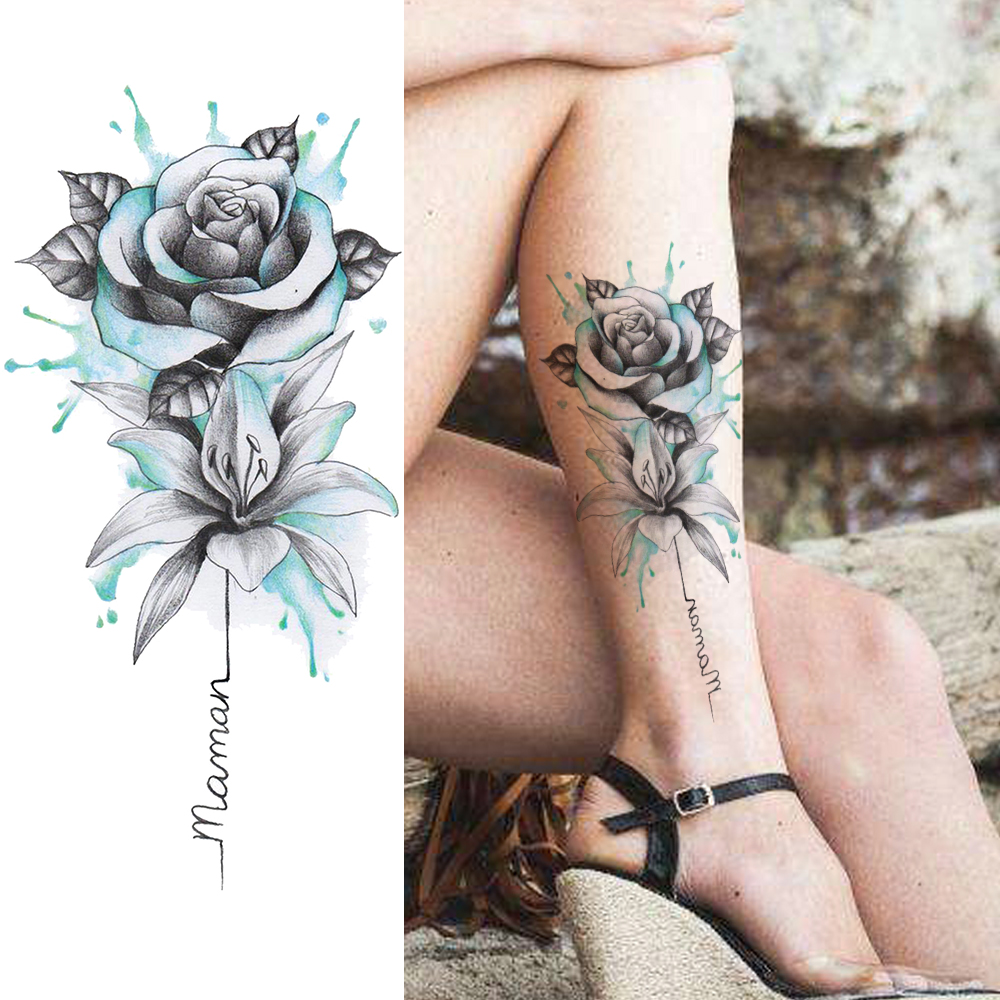 Watercolor Flower Temporary Tattoos Sticker Realistic Fake Rose Waterproof Tattoo For Women Girl Body Art Drawing Legs Arm Tatoo