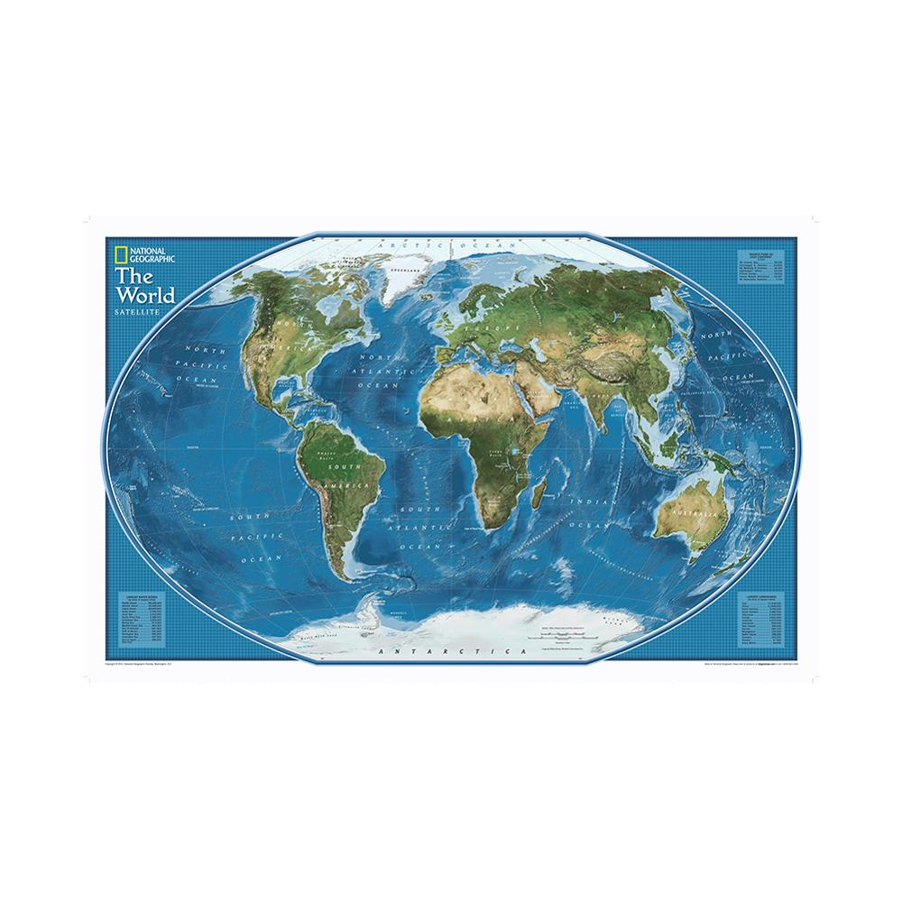Satellite Imagery Of The World 150x225cm Foldable Non-woven World Map With Largest Land And Water Bodies Rank By Area