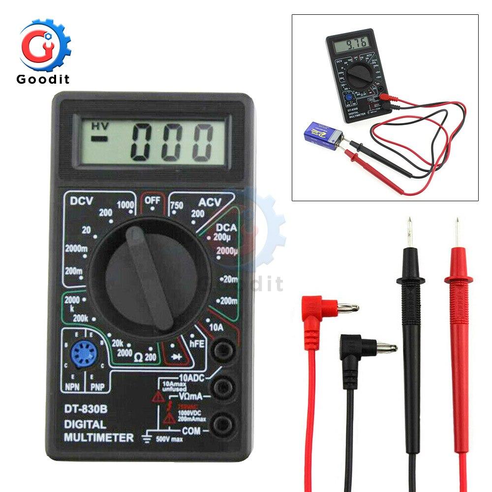 Mini multimètre LCD numérique DT830B, pour Volt Amp Ohm testeur voltmètre ammètre Protection contre les surcharges avec sonde