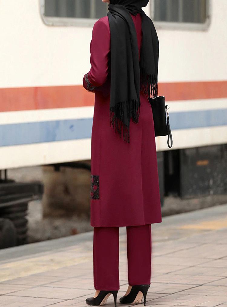 Wepbel Muslim Dubai Plus Size Abaya Suit Women Set Middle East Two Piece Set Islamic Clothing Long Tops Pants Muslim Dress