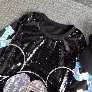 Image 5 - Mulheres Verão Plus Size Vestido de Manga Curta Streetwear lantejoulas Casual Solto O Pescoço Lantejoula Club Party Mini Vestidos de Coquetel