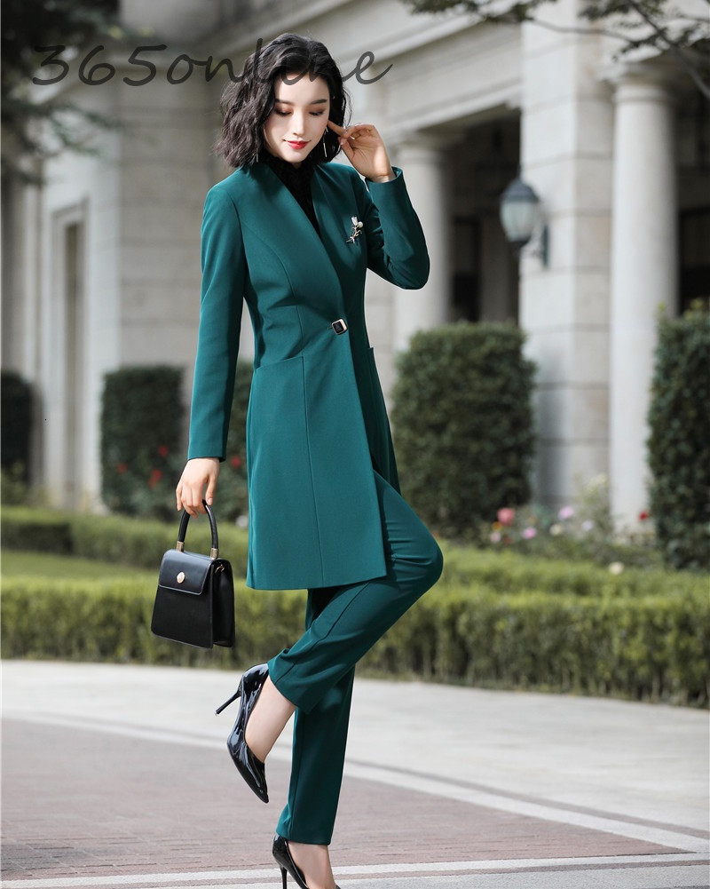 Fashion Uniform Styles Professional Business Suits For Women Office Work Wear Blazers Set Pantsuits Autumn Winter Outfits Set