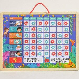 Image 5 - Tableau dactivité de récompense magnétique en bois, calendrier de responsabilités, jouets éducatifs pour enfants, calendrier de responsabilités, jouets