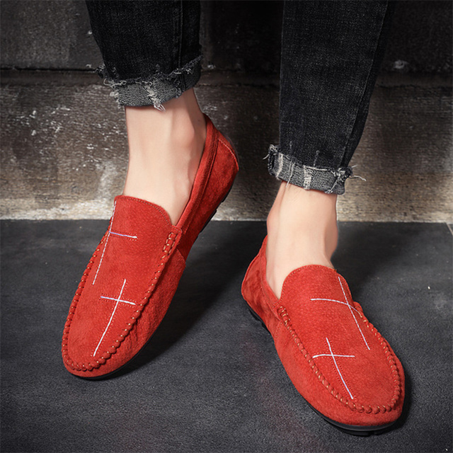 Men Loafers Genuine Leather Pig Skin Driving Boat Shoes Big Size 38-48 Comfortable Slip-on Casual Shoes Flats Moccasin Men Shoes