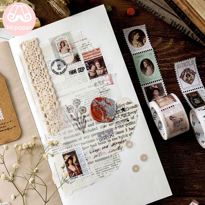 Mr Paper 8 Designs Retro Post Office Plant Bullet Journaling Stamp Tapes Scrapbooking Deco Sticker Masking Tapes Easy to Tear 3