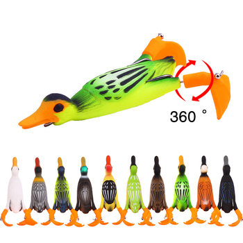 1 Pcs Propeller flipper duck Fishing Lure Ducking Fishing Frog Lure 9.5cm 11.2gArtificial Bait Duckling 3D Eyes Day Baits Bass image