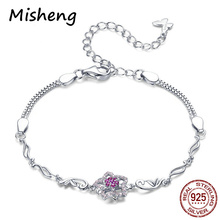 Misheng New Womens Trendy Jewelry Bracelet Flower lucky Blessing Friendship Fashion 100% 925 Sterling Silver Chain