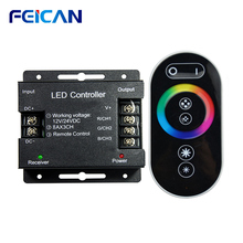 Led Controller 12 24V Touch Afstandsbediening Rgb Controller 24A 3 Kanaals Led Strip Licht Rf Controle Voor SMD5050 3528 Rgb Led Tape