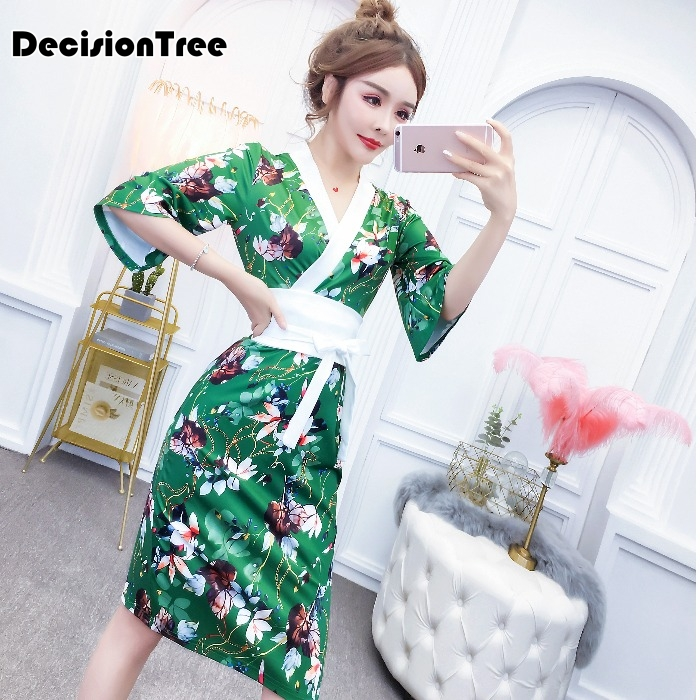 2019 Kimono Japanese Style Sleepwear Satin Dress Women Yukata Vintage Party Kimono Dress Clubwear Erotic Lingerie Sexy Clubwear