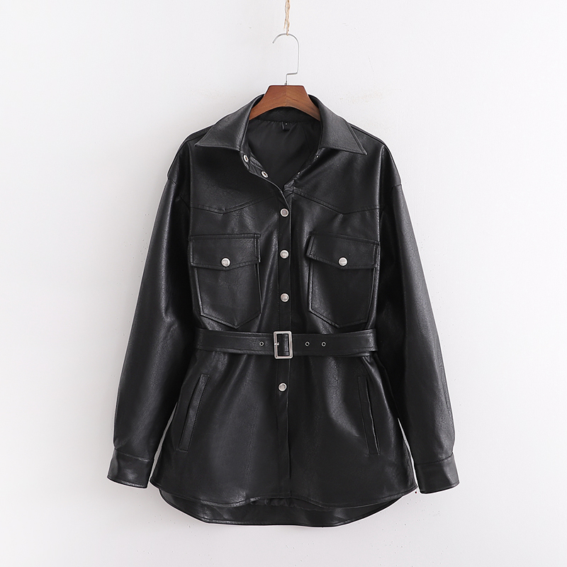 2019 Autumn PU Leather Women Soft Faux Leather Turn Down Collar Pocket Belt Outwear Coat Black Loose Trench