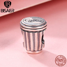 BISAER Popular 100% 925 Sterling Silver I Love Coffee Cup Charm Beads fit Women Charm Bracelet Bangles Valentine Day Gift GXC477 bamoer valentine day gift 925 sterling silver cheers for love couple beer pendant charm fit charm bracelet diy jewelry scc478