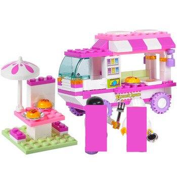 цена на 102Pcs City Vans Snack House Car Building Blocks Sets Friends Figures Brinquedos DIY Bricks Playmobil Educational Toys for Girls
