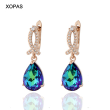 Rose Gold Earrings Fashion High Quality Luxury Drop Earrings For Women Wedding Engagement Elegant Jewelry For Girl Party 585 rose gold colorful cubic zirconia dangel earrings fashion brand engagement earrings jewelry for women wedding party jewellry
