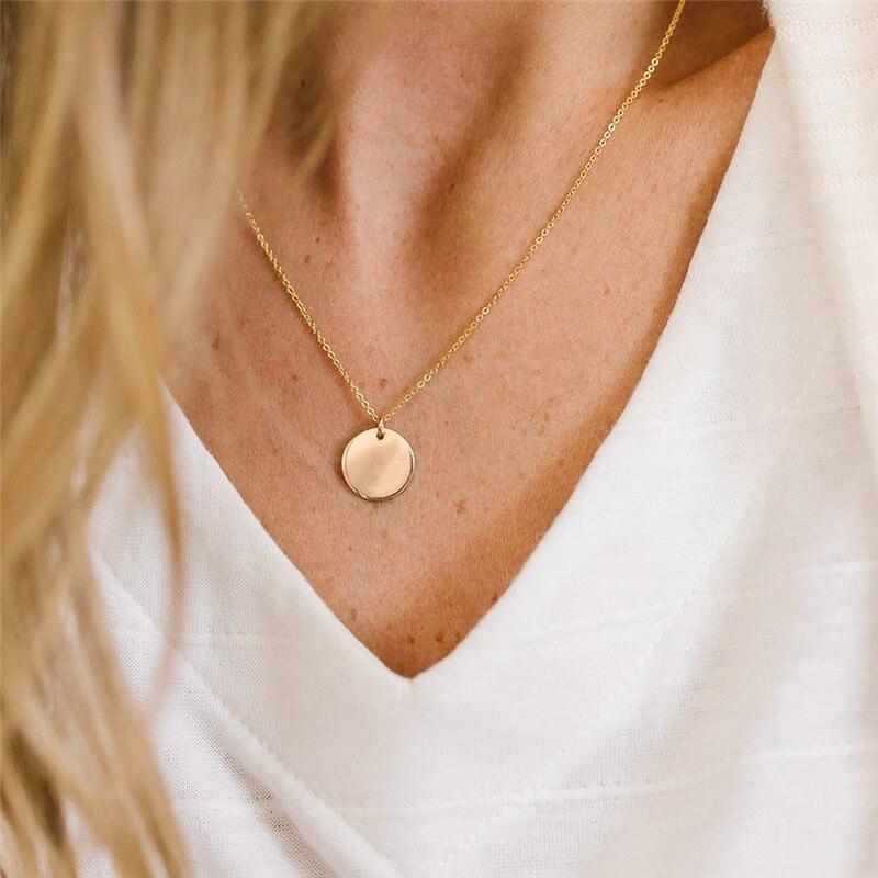 Modstyle colar com pingente de moeda boho, colar feminino com corrente dourada, de moeda redonda, multicamadas, gargantilha, joias de casamento