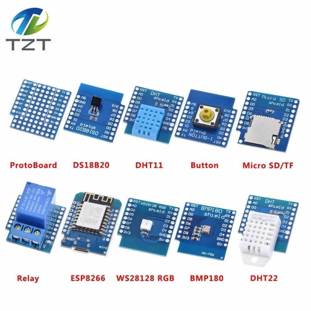 Esp8266 d1 mini pro placa de desenvolvimento wi fi nodeu ws2812 rgb dht11 dht22 am2302 relé ds18b20 bmp180 motor para wemos kit diy