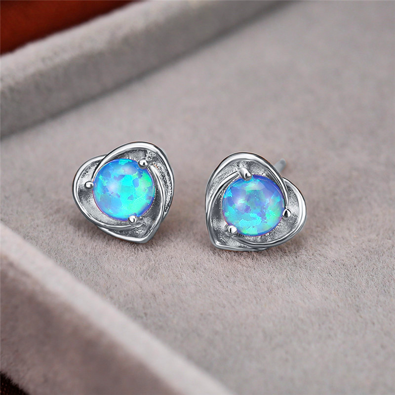 Blue/White Round Opal Stone Heart Stud Earrings For Women White Gold/Rose Gold Wedding Earring Female Luxury Birthstone Jewelry