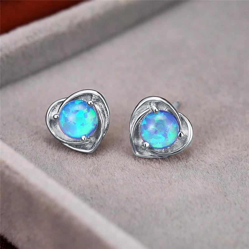 Blue/White Round Opal Stone Heart Stud Earrings For Women White Gold/Rose Gold Wedding Earring Female Luxury Birthstone Jewelry