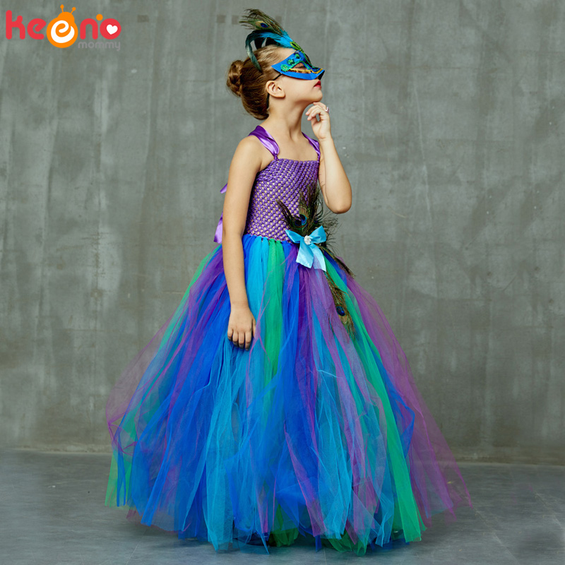 High-end Girls Peacock Princess Tutu Dress with Mask Flower Feathers Girl Ball Gown Dresses Tulle Kids Party Pageant Costume 3
