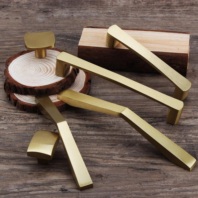Gold Brass Kitchen Cabinet Handles Cupboard Door Pulls Drawer/dresser Knobs European Fashion Furniture Handle Hardware