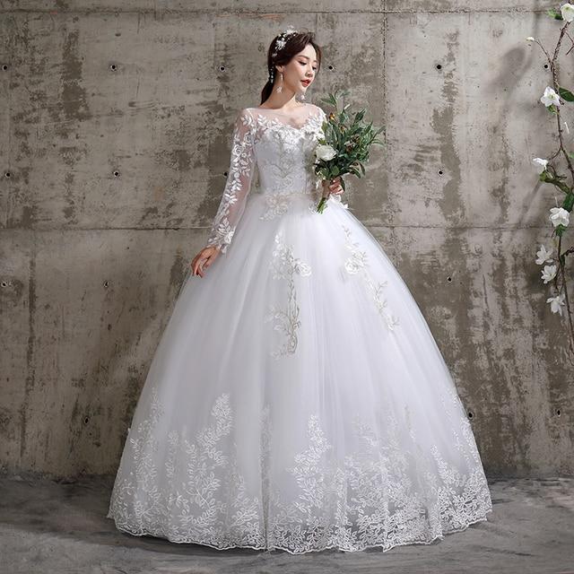New Summer Korean Light wedding dress Vestidos De Novia off white bride O-neck dream princess simple Long Sleeve Lace appliques 2
