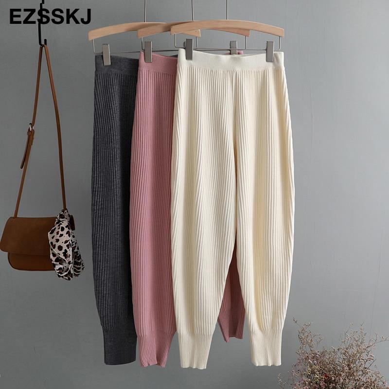 Casual Elastic Waist Trousers Thick Knitted Women Harem Pants Autumn Winter Sport Swear Female Sweater Radish Pants Grandma