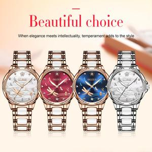 Image 5 - OLEVS נשים שעון מכאני קרמיקה ריינסטון תאריך שעוני יוקרה צמיד עמיד למים שעוני יד אלגנטי אוטומטי שעון