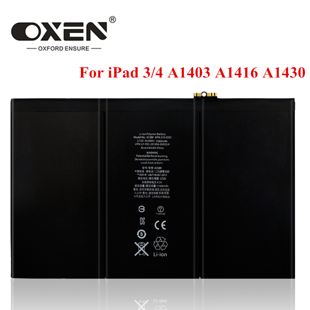 OXEN 11560mAh A1389 Tablet Battery For IPad 3 4 Replacement Batteries A1403 A1416 A1430 A1433 A1459 A1460 IPad3 IPad4 Bateria