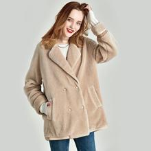 Новинка, Осеннее и зимнее пальто с отворотом, бионическое пальто для стрижки овец, одноцветное короткое пальто для женщин, W5260