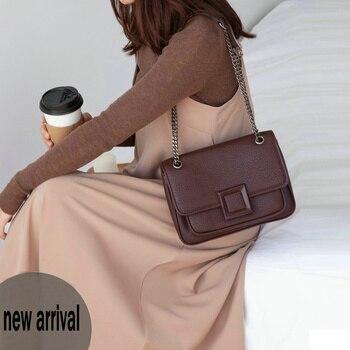 VENOF Luxury Genuine Leather Chain Shoulder Bag For Women High Quality Ladies Messenger Bags Fashion Crossbody Bags For Women