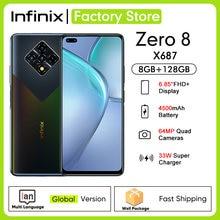 Globalna wersja Infinix Zero 8 8GB RAM 128GB ROM 6.85 ''90Hz pełny ekran 64MP Quad Camera 4500mAh bateria 33W ładowarka mobilna X687