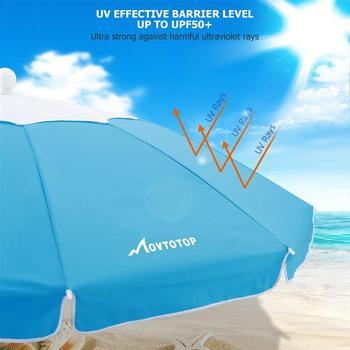 MOVTOTOP 1PC Flower Design Beach Umbrella UV Protection with Aluminum Pole Portable Wind Beach Umbrella Adjustable Sand Umbrella 3