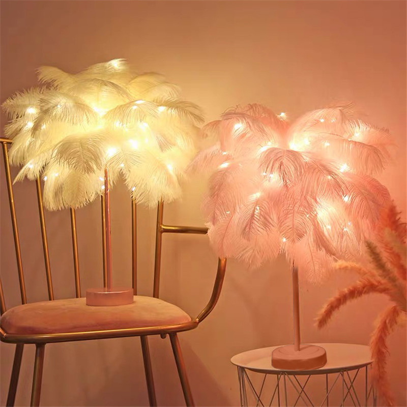 Novelty Feather Night Light Remote  Fairy Copper Lamp With Battery & USB For Home Living Room Bedroom Party Wedding Decorative