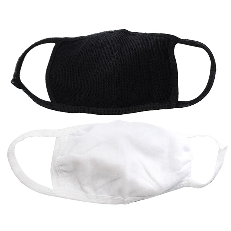2 PCS Black White Cotton Mouth Mask Adult Reuseable Dustproof Facial Cover Breathable Face Mask For Mouth-muffle Proof Washable