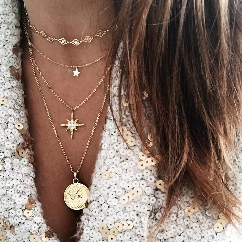 Fashion Coin Star Pendants Necklaces for Women Gold Silver Color Layered Necklace Female Choker 2020 Trendy Jewelry Simple New