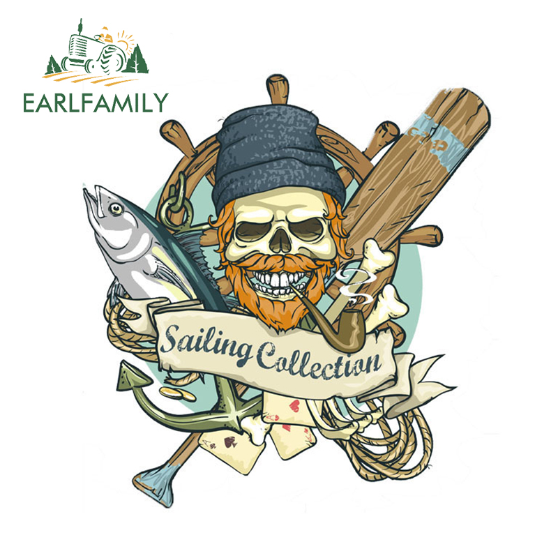 EARLFAMILY 13cm x 13cm Funny Car Glue Stickers Pirate Pipe Fish Skeleton Rope Sailing Callection Decal Window Bumper Vinyl