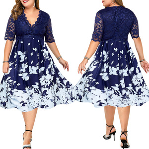 Plus Size Dress Women Elegant Spring Autumn Ladies Dress Banquet Lace Patchwork Print Casual Dresses For Women Vestidos Mujer