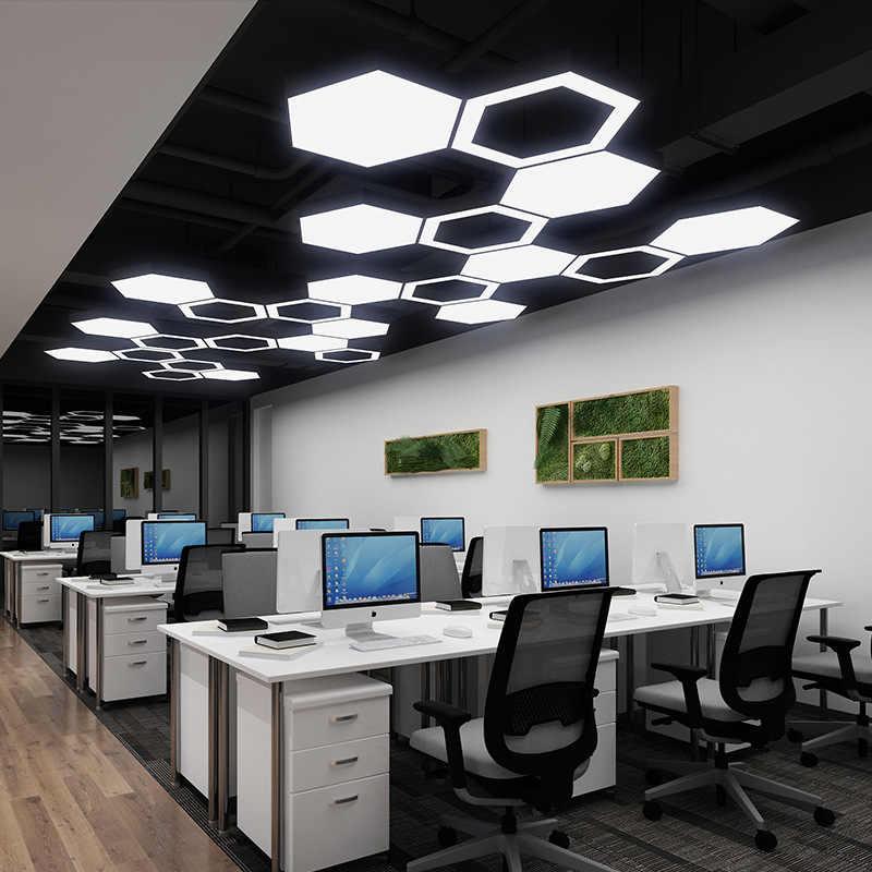 현대 간단한 led 사무실 공간 육각형 블랙 샹들리에 쇼핑 체육관 크리 에이 티브 벌집 모양 기하학 특수 모양의 램프