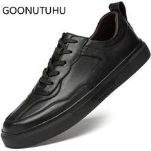 2019 new fashion mens shoes casual genuine leather male flats sneakers white & black shoe man size 36-45 platform for men
