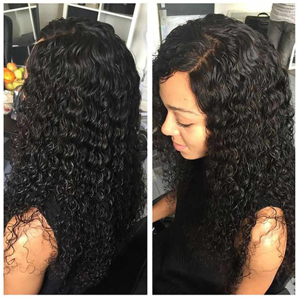 Kiss Love pelucas de onda profunda de encaje 13x6, pelucas de cabello humano frontal para mujeres negras, Prepluck sin pegamento, pelucas de cabello humano brasileño rizado
