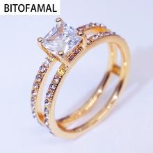 1Pc panie dwuwarstwowy pierścionek w kształcie korony kryształy pierścień kolor złoty klasyczny geometryczny prezent dla kobiet nadaje się na każdą okazję tanie tanio CN (pochodzenie) Brak Unisex Metal Zespoły weselne GEOMETRIC OTHER SE1160700MM Prong ustawianie Zaręczyny
