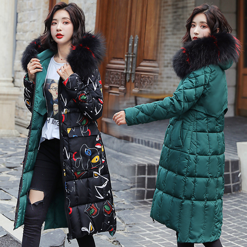 Diwish Reversible Parka Women Double Wear Furry Hooded Thickened Warm Large Pocket Print Quilted Long Winter Coat Women Jacket