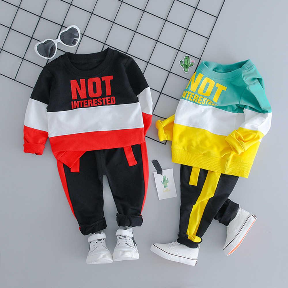 2019 осенний модный спортивный костюм для малышей От 1 до 4 лет, Детская футболка с длинными рукавами + штаны, комплект повседневной одежды для маленьких мальчиков и девочек