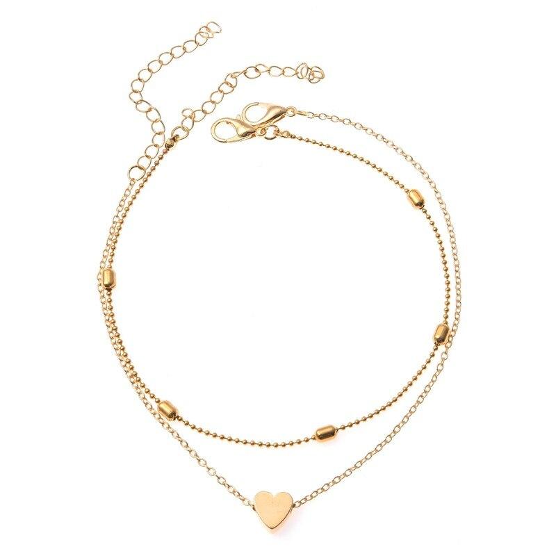 Anklets for Women Beads Set Anklet Bracelet Ladies Gold Color Heart Trendy European Zinc Alloy Girl Fashion Jewelry Pulseras