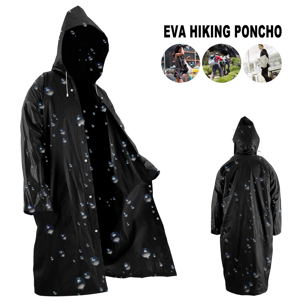 Fashion Women men EVA Transparent Raincoat Portable Outdoor Travel Rainwear Waterproof Camping Hooded Plastic Rain Cover