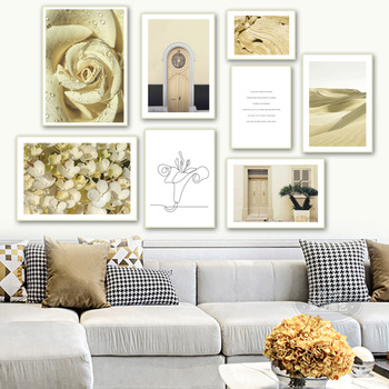 Beige Flower Door Mountains Desert Quote Wall Art Canvas Painting Nordic Posters And Prints Wall Pictures For Living Room Decor image
