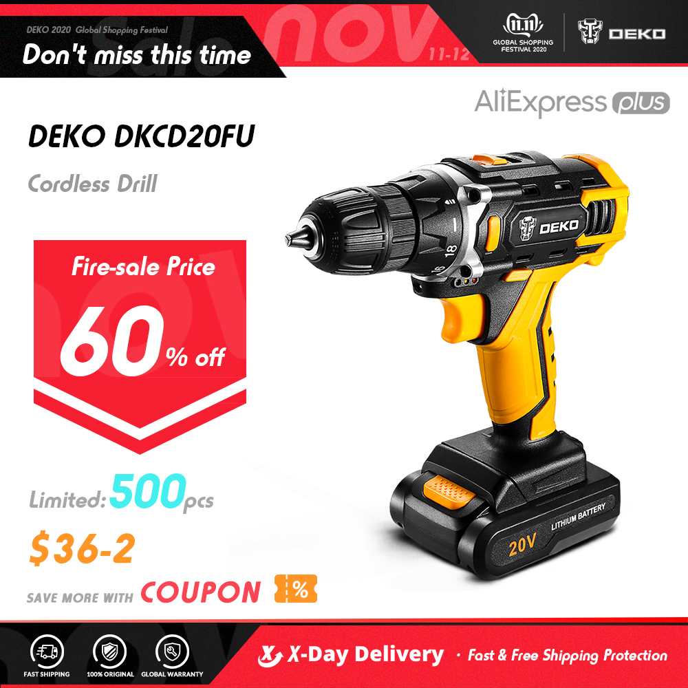 DEKO Sharker 20V Wireless & Powerful Drill Mini Wireless Power Driver DC Lithium-Ion Battery Last a Long Highly Recommend