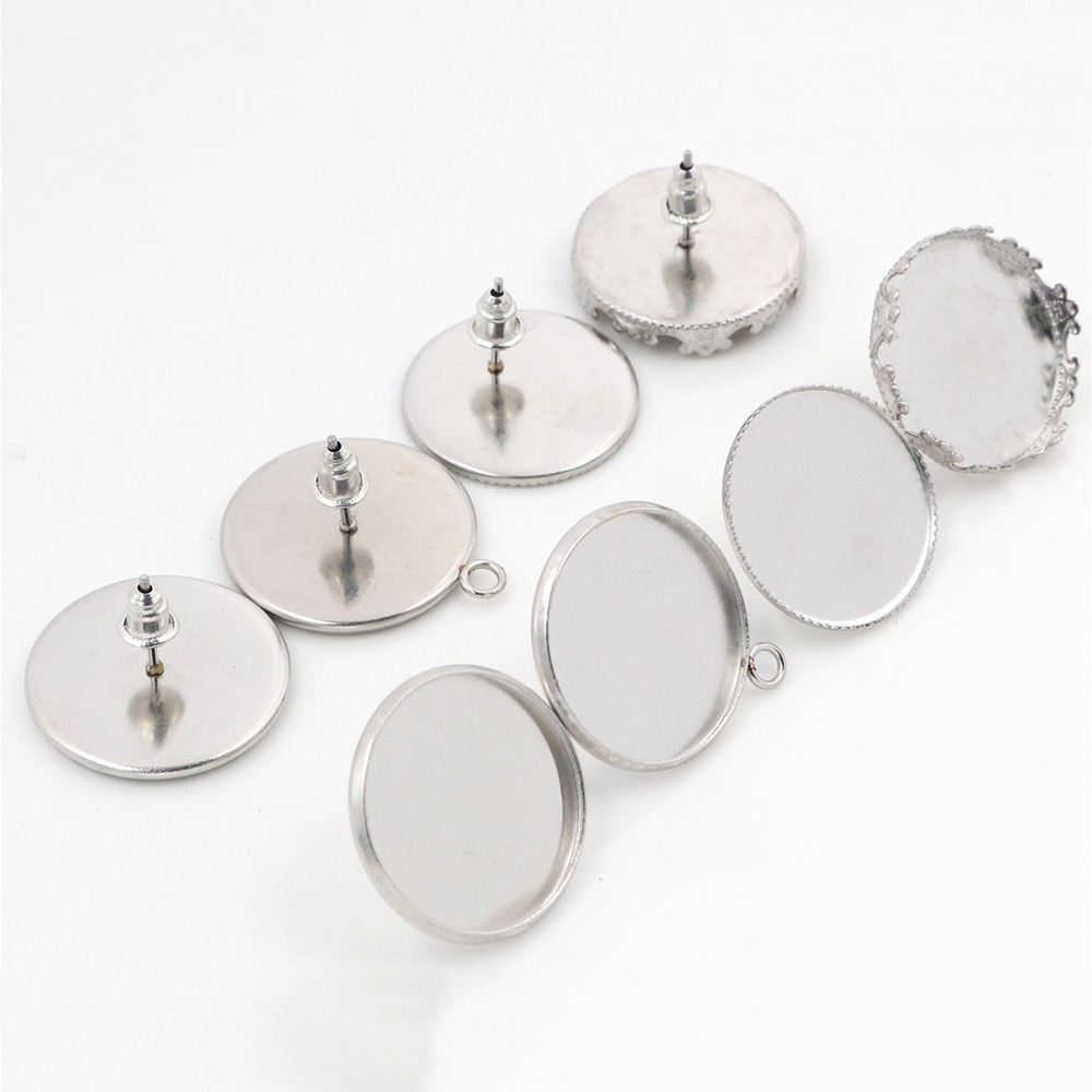 ( No Fade ) 20mm 10pcs 4 Style Stainless Steel Earring Studs,Earrings Blank/Base,Fit 20mm Glass Cabochons,Buttons