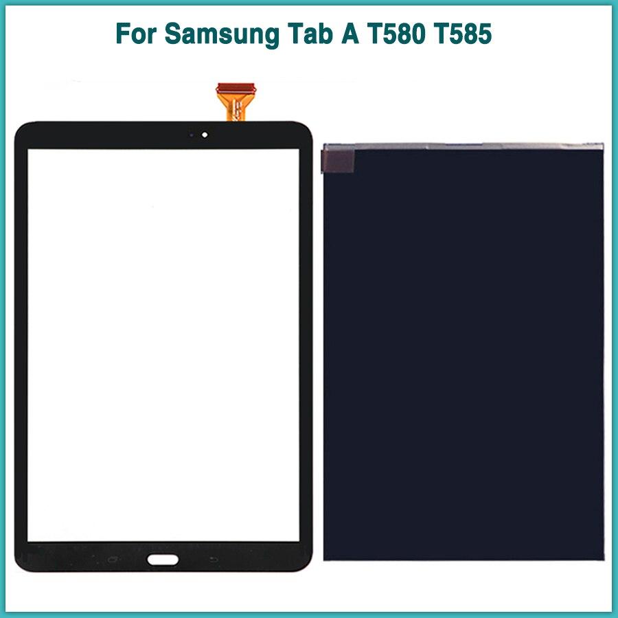 Nova T585 LCD Painel de Toque Para Samsung Tab UM SM-T580 SM-T585 T580 T585 Display LCD de Toque Digitador Da Tela da frente Do Sensor lente de vidro