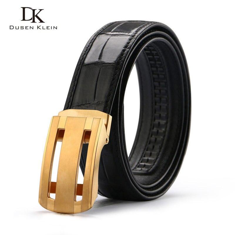 Nuevo cinturón de cocodrilo genuino cinturón de hebilla de acero inoxidable para hombre de negocios casual cuero cocodrilo cintura negro/marrón Correa E318