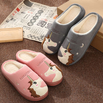 Cute Unicorn Women Winter Home Slippers Cartoon Embroidery Soft Warm House Shoes Men Women Boys Girls Indoor Bedroom Slippers 1